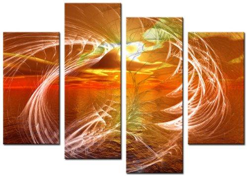 Lynxart Leinwandbild Größe 90x 70cm, Abstrakte Kunst Digital Print montiert tiphany orange - Grau-wand-kunst Teal