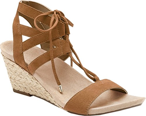 Vionic Womens Noble Tansy Lace Up Wedge Caramel Suede