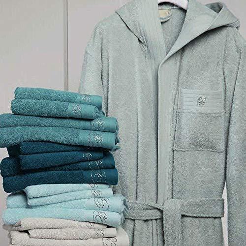 Blumarine asciugamano spugna viso + asciugamano ospite crociera blu