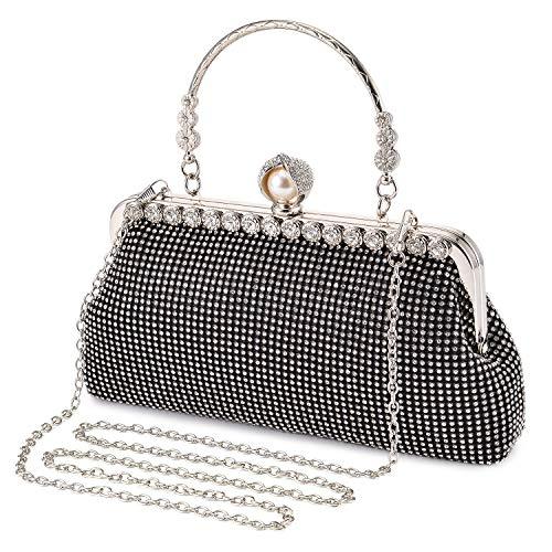 BAIGIO Damen Abendtasche Handtasche Strass Perle Clutch mit Schulterkette Schultertasche Glitzer Elegant (Schwarz) -