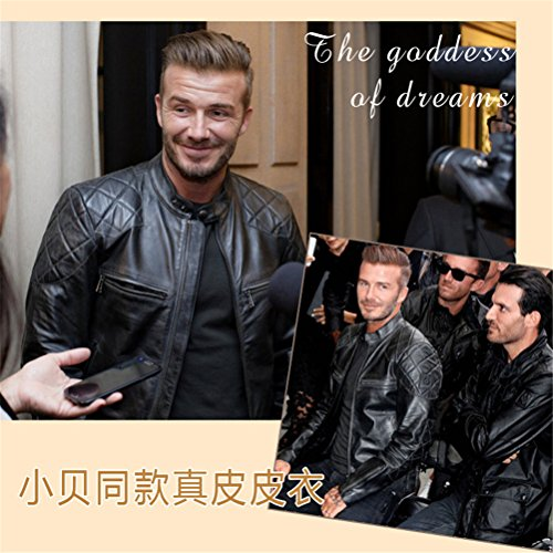 WS668 Herren Echtleder Casual Mantel Reißverschluss Klassisch High Quality Outdoor Jacken Echtes Leder Mens Coats Schwarz#1-Cowhide