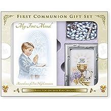 Cross My Heart Boy - Set de regalo para primera comunión, diseño de libro misal, rosario y marco de fotos C5175