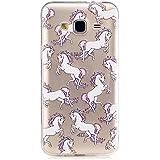 MUTOUREN La nueva serie 2017> Samsung Galaxy J3 J310> funda protectora delgada todo tipo de protección TPU de silicona transparente para su teléfono de daños> precioso caballo blanco