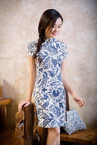 ACVIP Damen Verbessern Kurze Arme Muster Stehtkragen Süß Art Kurze Cheongsam Farbe4