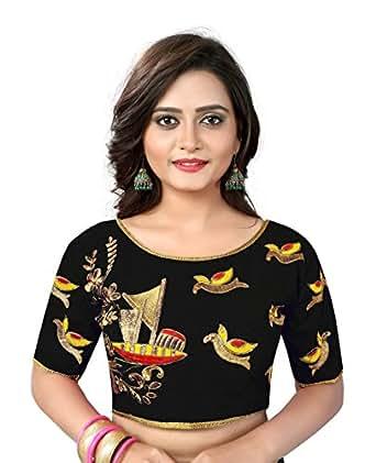 d5fa2f88b9aa8b Kuvarba Fashion Cotton Silk Saree Blouse(1002.black Black Free Size ...