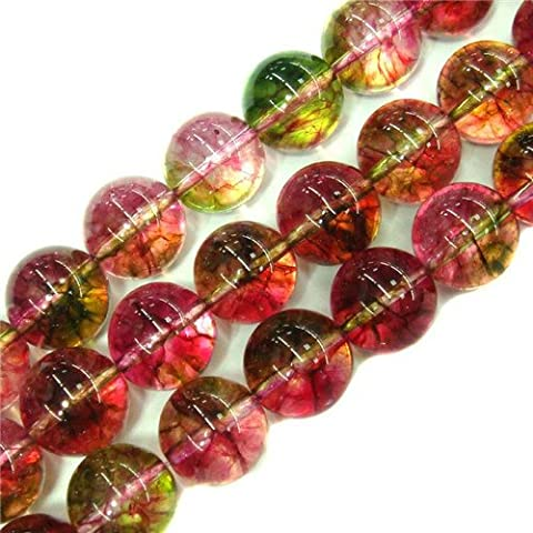 Sweet & Happy Girl'S Store 14mm Round Gemstone Tourmaline Faux Crackle Beads Strand 15 Inch Jewellery Making Beads