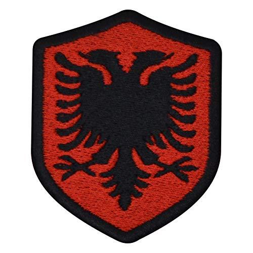benobler FanShirts4u Aufnäher - ALBANIEN - Wappen - 7 x 5,6cm - Flagge Fahne Bestickt Patch Badge Albania (Schwarze Umrandung) Wappen-patches