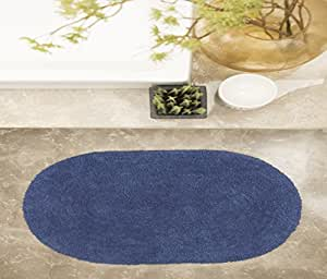 House This 100% Cotton 1 Bath Rug Solid Oval Blue