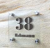 individuelles Türschild, Hausnummer, Namensschild, Familienschild Glaslook Acryl 20 x 20 cm