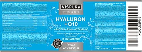 Hyaluronsäure hochdosiert 200mg + Coenzym Q10 100mg pro vegane Kapseln 2 Monatskur, HOHE Bioverfügbarkeit Micro-Molecular von 500-700 kDa Qualitätsprodukt-Made-in-Germany - 4
