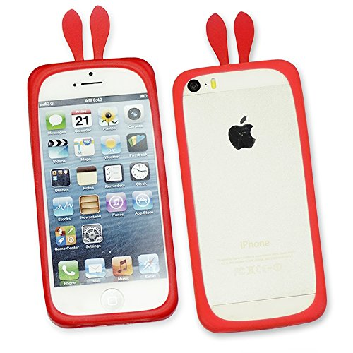OBiDi - Rabbit Style Ring Silicone Bumper Case / Housse pour Apple iPhone SE / Apple iPhone 5S / 5 - Rouge Pourpre