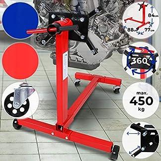 TIMBERTECH Soporte para Motores – Carga MAX. 450 kg, Radio de la Placa de Apoyo 360º, Estable, Metal – Caballete, Grúa para Motor de Transmissión