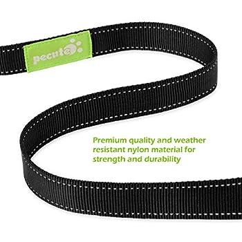 Pecute Hundeleine Doppelleine 2 Hunde Reflektierende Elastische Nylonband 1.6 M Schwarz 12