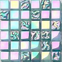 10 cm x 10 cm modelo. Brillante iridiscente perla verde brillante cristal mosaico Aqua (MT0097 modelo)