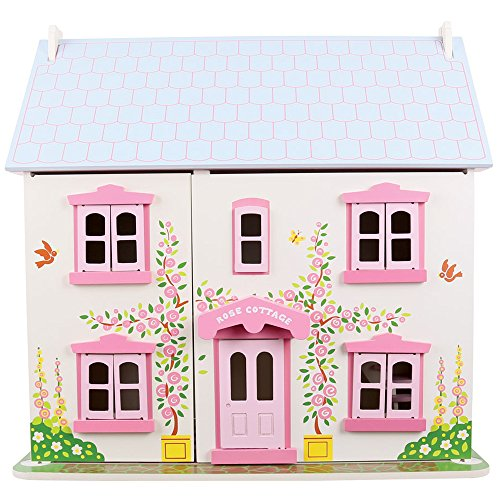 Bigjigs Toys Heritage Playset Rose Cottage - Wooden Doll House with Furniture
