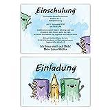 10 x Einschulung Einladungskarten Einschulungskarten Schulanfang Set - Schulfreunde