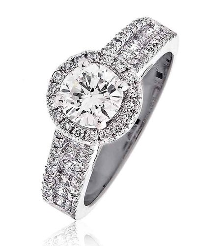 S2 Round Brilliant Cut Claw Set with Halo Diamond Ring with Pave Diamond Shoulders in 18K White Gold ()