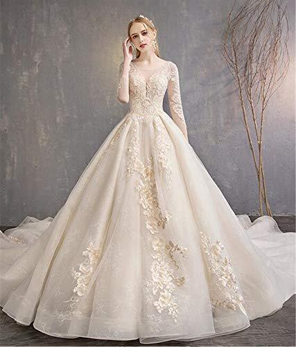 Hochzeitskleid, Brautkleid Für Braut Westlichen Stil Lange Abschnitt Hinter Blume Spitze Mesh Traum Prinzessin High-end Luxus Party Frau Abendkleid