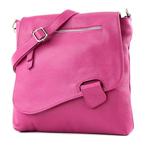 modamoda de - T146 - ital Messenger-/Umhängetasche aus Leder, Farbe:Pink
