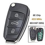Beefunny 433 MHz 8E Chip P/N: 8E0 837 220Q Upgraded Flip Folding 3 Button Remote Autoschlüssel Autoschlüssel für Audi A6L