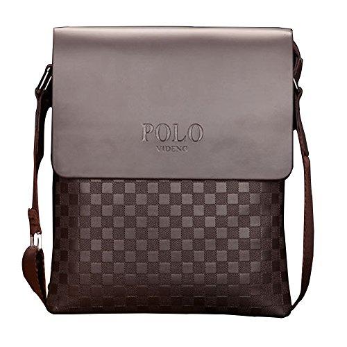 äft Tasche Normallack Gitter Muster Umhängetasche Verdeckter Knopf Braun ()