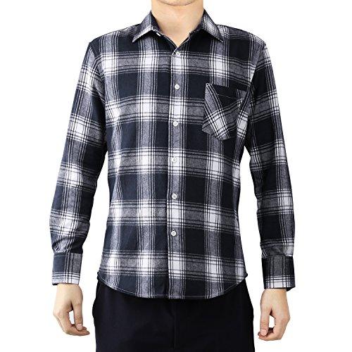Luxspire Herren Langarmshirt Standard-Fit Plaid, Herren, schwarz/weiß, XXX-Large -