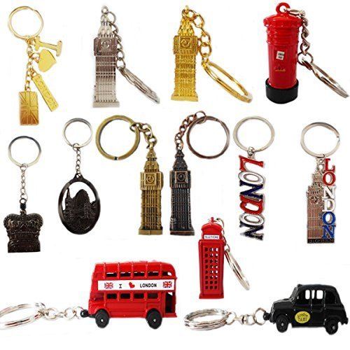 10 x British Key Tags Mini London GB Icon Keyrings Brelock Gift Souvenir England Union Jack Key Chains by Grids