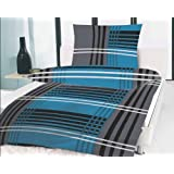 BETTWÄSCHE 4 TEILIG MICROFASER 135x200 Schwarz Grau weiss Blau Türkis NEU