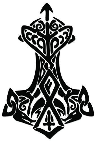 Viking Thor Hammer - [6 inch/15 cm Tall] - Aufkleber von SUPERSTICKI® für Auto,Scheine,Lack,Motorrad,Wandtattoo,Tattoo Sticker, Autoaufkleber für alle glatten Flächen, Aufkleber ohne Hintergrund - Profi-Qualität