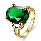 AMDXD Schmuck Vergoldet Damen Ringe (Eheringe) Grüne Runde Shaoe Gr.57 (18.1)