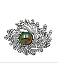 Luxus Zirkonia Blume Mit Simulierten Perlenbroschen Für Frauen Schmuck