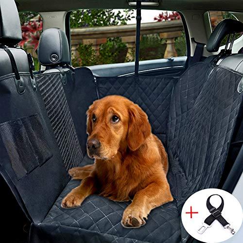 FEENM Autositzbezug für Hunde, mit Sichtfenster, wasserdicht, Kratzfest, für Haustiere, große Rücksitzabdeckung mit Aufbewahrungstasche für Hund, Katze, Reise-Hängematte, Cabrio für Autos, LKW, SUV