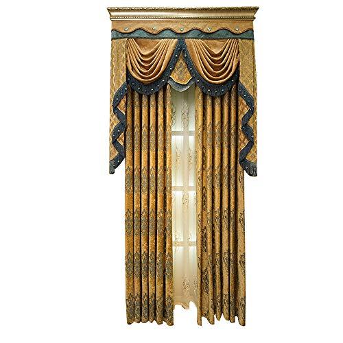 MENGXIANG Chenille Verdunkelungsvorhänge Wohnzimmer Schlafzimmer Boden bis zur Decke Vorhänge Europäischen Jacquard-Vorhänge 132 * 210cm