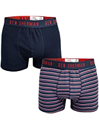 Ben Sherman Mens Nathan 2 Pack Boxer Shorts in Navy- One Plain, One Striped