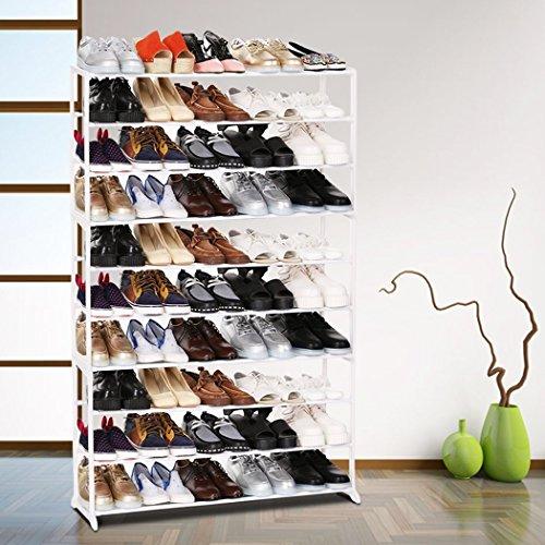 BATHWA Schuhregal Metal mit 10 Ablagen Schuhschrank Schuhständer Schuhablage für 50 Paare Schuhe, ca L92 x W17 x H138cm, Weiß