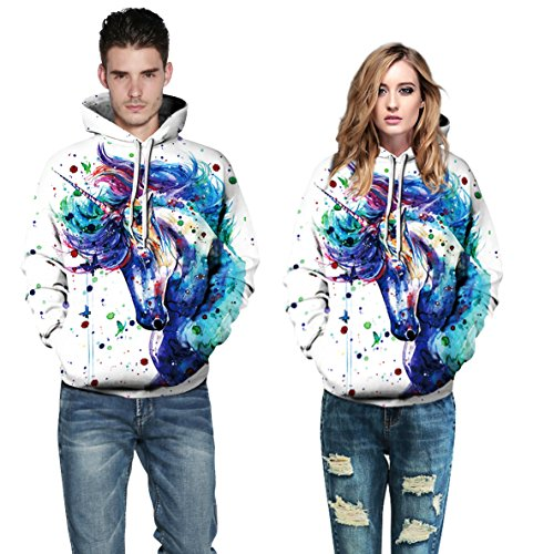 AMOMA Jungen digitaldruck Kapuzenpullover Tops Fashion Hoodie Pullover Hooded Sweatshirt Color Unicorn