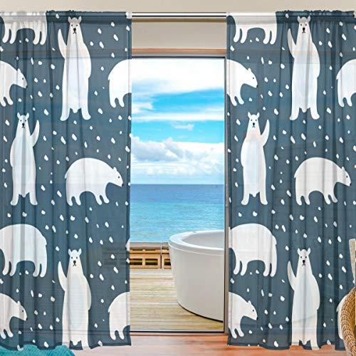 TIZORAX Vorhang mit Eisbären, durchsichtig, Polyleinen-Voile-Vorhang, Gardinenstange für Wohnzimmer, Schlafzimmer, 139,7 x 19,8 cm, 2 Paneele, Polyester, Multi, 55