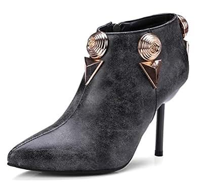 Easemax Damen Sexy Spitze Zehe Nubuk Metall Accessoire Low Ankle Pumps Stiefel Schwarz 39 EU jKhwaHiTGl