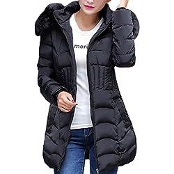 SHOBDW Moda Mujeres de Invierno Chaqueta Larga Abrigo de algodón Caliente Slim Trench Parka Ropa L-4XL (Negro, L)