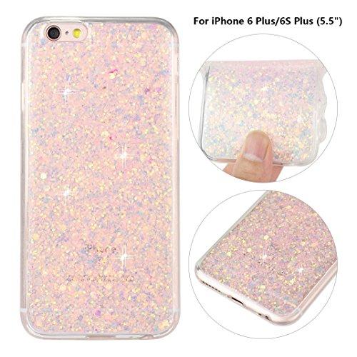 iPhone 6S Plus Hülle, iPhone 6 Plus Glitzer Case Rosa Schleife 3D Bling Shiny Case Cover Transparent TPU Silikon Backcover Glitter Handyhülle Schale für iPhone 6 Plus / 6S Plus Rosa