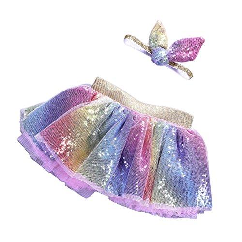 (TENDYCOCO Tutu Rock Stirnband Regenbogen Meerjungfrau Bunte Tüll Kleid Set für Kinder Mädchen 2PCS Größe L)