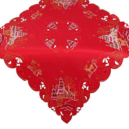 (Mitteldecke Tischdecke sorgt für eine festliche Stimmung Größe 85x85cm Weihnachten Stadt Tannenbaum Rot mit hochwertig bestickten Motiven Mitteldecke Winter Advent Weihnachtsdeko)