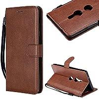 CESTOR Brieftasche Hülle für Sony Xperia XZ1,Magnetverschluss Flip Ultra Dünn Weich Silikon PU Leder mit Faltbar Stand und Halter Kreditkarte Slots hülle für Sony Xperia XZ1,Braun