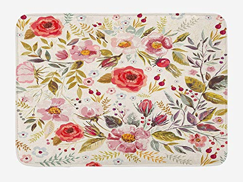 MSGDF Vintage Bath Mat, Floral Theme Hand Drawn Romantic Flowers and Leaves Illustration, Plush Bathroom Decor Mat with Non Slip Backing, 23.6 W X 15.7 W Inches, Pale Pink Red and Cream - Floral Bath Vanity