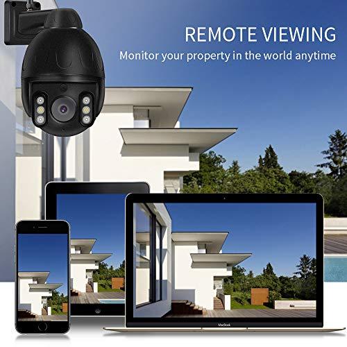 Überwachungskamera Aussen WLAN 1080P Dome IP Kamera PTZ, Intelligenter Alarm, Zwei-Wege-Audio, 4X Optischer Zoom, PIR-Infrarot, Wetterfest, Bewegungserkennung, mit SD-Kartensteckplatz