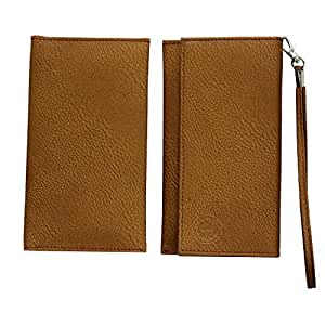 Jo Jo A5 G8 Leather Wallet Universal Pouch Cover Case For Lemon P8 Brown