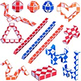 24 Pack Mini Cubos de Serpiente de 24 Bloques Mini Rompecabezas de Serpiente Juguetes para Relleno de Bolsa de Fiesta de Desarrollo de Inteligencia de Niños Favores de Fiesta, Colores al Azar.