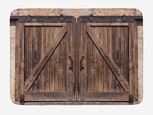 Rustic Bath Mat, Wooden Barn Door in Stone Farmhouse Image Vintage Desgin Rural Art Architecture Print, Plush Bathroom Decor Mat with Non Slip Backing, 15.7X23.6 inch, Beige