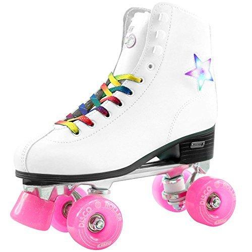 Crazy Skates Disco-Rollschuhe mit LED-Beleuchtung und blinkenden Sternen, klassischer Stil mit Regenbogen-Schnürsenkeln, weiß, Ladies Size 9