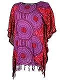 Guru-Shop Poncho, Mandala Tunika, Boho Kaftan, Kurzarm Strandtunika, Damen, Fuchsia, Synthetisch, Size:One Size, Blusen & Tunikas Alternative Bekleidung